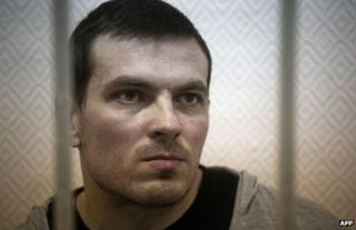 Maxim Luzyanin on trial in Moscow, 9 November