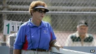 tennis referee Lois Goodman is shown while officiating a CIF tennis tournament, 2008