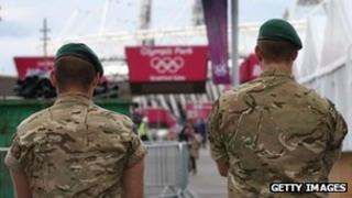 Soldiers guard London 2012