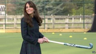 Catherine Middleton playing hockey at her old school in Berkshire