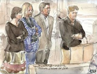 An artist's sketch shows (from left) defendants Marie-Agnes Peleran, Alain Peligat , Philippe van Winkelberg and Christophe Letien in court in Paris, 3 December