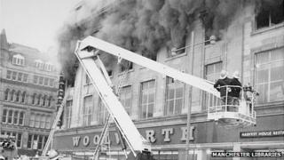 The fire at the Woolworth store in Manchester in 1979