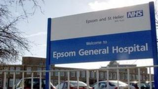 Epsom General Hospital sign