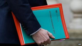George Osborne holds his Autumn budget as he leaves the Treasury