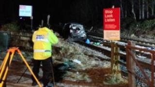 Scene of accident on Newcastle-Carlisle rail line