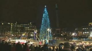 The lights are switched on on the tree in Trafalgar Square