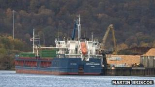 KAPITAN KONKIN ship being loaded with timber