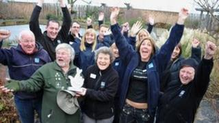 Bill Oddie presents the award to staff at Saltholme