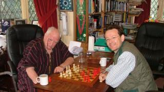 Sir Patrick Moore and Carl Portman playing chess in 2007