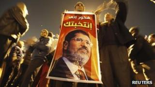 Supporters of Egypt's President Mohammed Morsi, Cairo, 10 December 2012