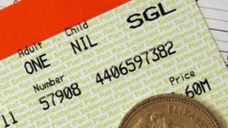 Rail ticket and cash