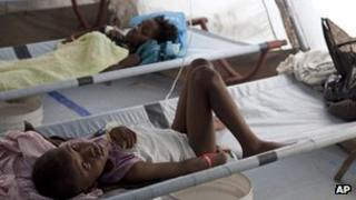 A child receives treatment for cholera in a hospital in Port-Au-Prince last month
