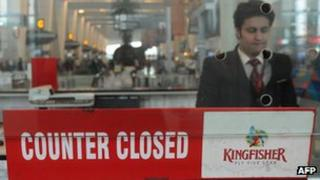A Kingfisher counter at New Delhi airport