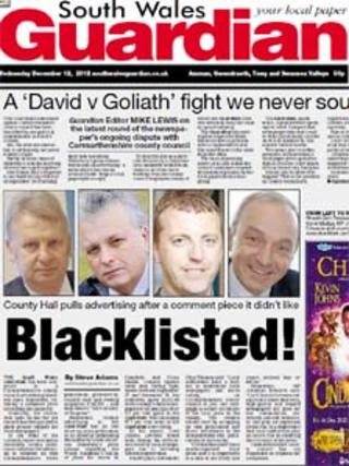 Front page of the South Wales Guardian