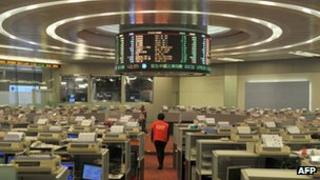 Trading floor at Hong Kong Stock Exchange