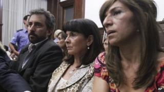 Susana Trimarco (centre) hears the verdict in the case