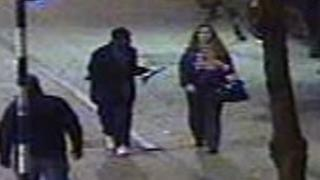 CCTV showing Shelley Pratt walking with a young man