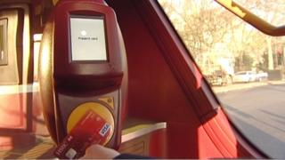 One of the new contactless card readers on buses