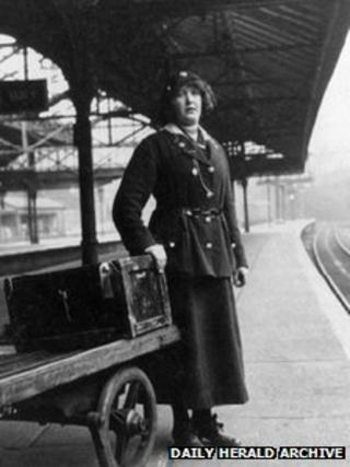 Female porter on the Lancashire and Yorkshire railway WW1