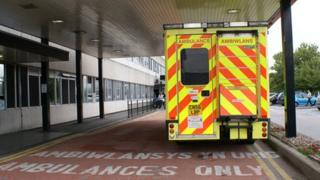 Ambulance outside Glan Clwyd hospital's A&E department