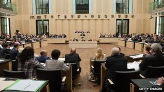 Parliamentarians attend a session of the German Bundesrat