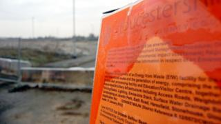 A planning notice giving information about the incinerator at Javelin Park near Haresfield, Gloucestershire