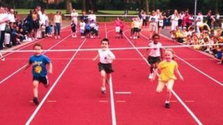 Children running race