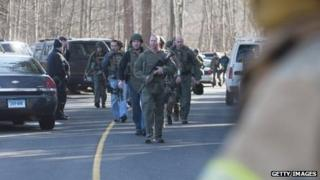 Connecticut State Police at the scene on 14 December