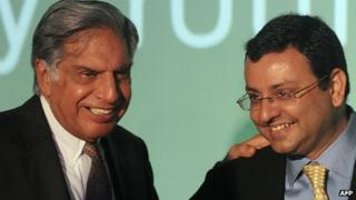 Ratan Tata (l) with successor Cyrus Mistry (r)