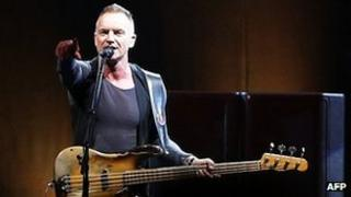 Sting on stage
