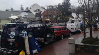 News trucks on Church Hill Road