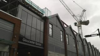 Work being carried out to create a multiplex cinema at Gloucester Docks