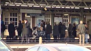 Delayed passengers at Haywards Heath
