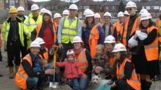 LILAC residents at a ground breaking ceremony on the site in April