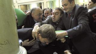 Fight in parliament - Ihor Miroshnychenko (centre) on the attack