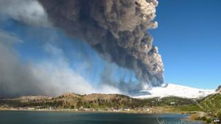 View of the Copahue volcano spewing ash