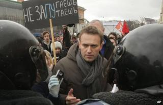 Alexei Navalny at a rally in St Petersburg, 25 February