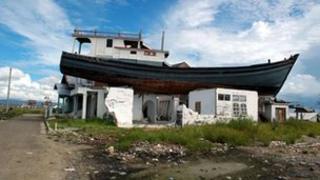 Fishing boat swept ashore by 2004 Asian tsunami