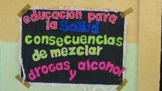 Anti-drugs and alcohol posters in as Guayquil school
