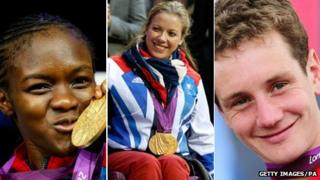 From left to right: Nicola Adams, Hannah Cockroft and Alistair Brownlee