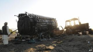 The wreck of a fuel tanker attacked by Nato-led forces (5 Sept 2009)