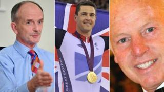 Charity supporter Geraint Davies, Paralympian Mark Colbourne and rugby great JJ Williams