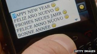 Texting 'happy new year'