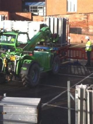 Flood defences being put up in Shrewsbury