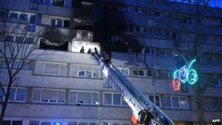 Scene of blaze in Gennevilliers, 2 Jan 13