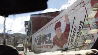 A mural of President Hugo Chavez in Caracas on 2 January 2012