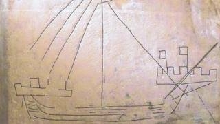 Cog ship at Cley church