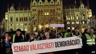 Protest against new electoral law outside parliament in Budapest, 19 Nov 12