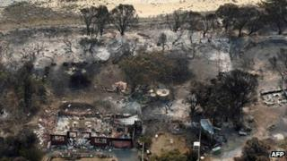 Aerial image of Boomer Bay area after wildfires in Tasmania