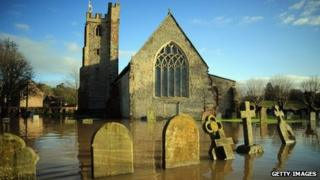 St Denys church after flooding in Severn Stoke